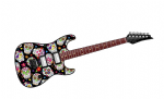 Electric Guitar Design With Mexican Sugar Skull Pattern Motif External Vinyl Car Sticker 150x50mm